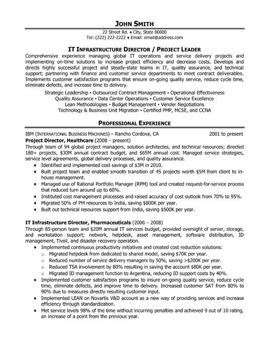 Director Of IT Infrastructure Resume Template