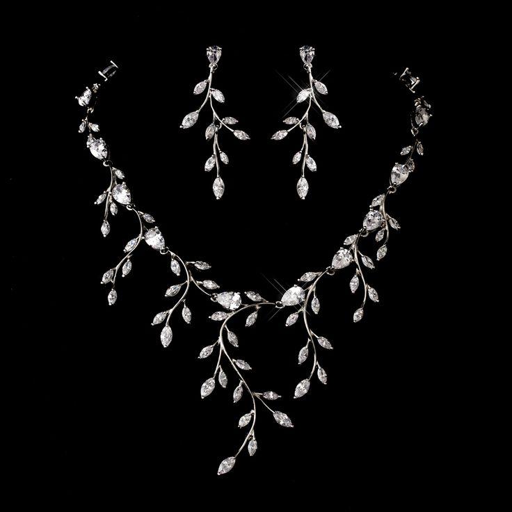 Dramatic Cubic Zirconia Vine Wedding Jewelry Set - Affordable Elegance Bridal -