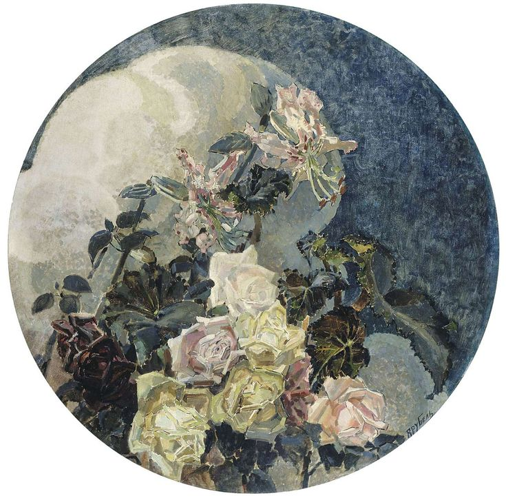 Roses and orchids, by Russian Symbolist, Mikhael Aleksandrovich Vrubel (1856-1910), 1894, oil on canvas