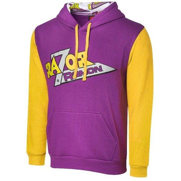 WWE Razor Ramon Varsity Hoodie Yellow ($55) ❤ liked on Polyvore featuring tops, hoodies, hoodie top, wwe, yellow top, hooded pullover and yellow hooded sweatshirt