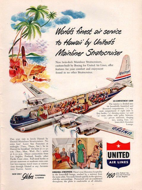 1950 United Air LInes print ad Mainliner by catchingcanaries, $8.00