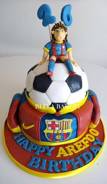 Ah I want this for my bday!  FC BARCELONA- MESSI FOOTBALL CAKE
