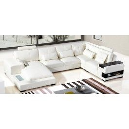 Divani Casa Diamond Modern White Leather Sectional Sofa - #sofas #furniture #LAfurniture #sectionalsofa #sectionals #couches #Furnituredesign #HomeDecor #whitesofa #leathersofa #leathersofas #leathercouch #leathercouches