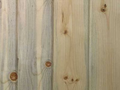 white pickled pine paneling - I forgot the most important part. My Dad pickled the pine white.