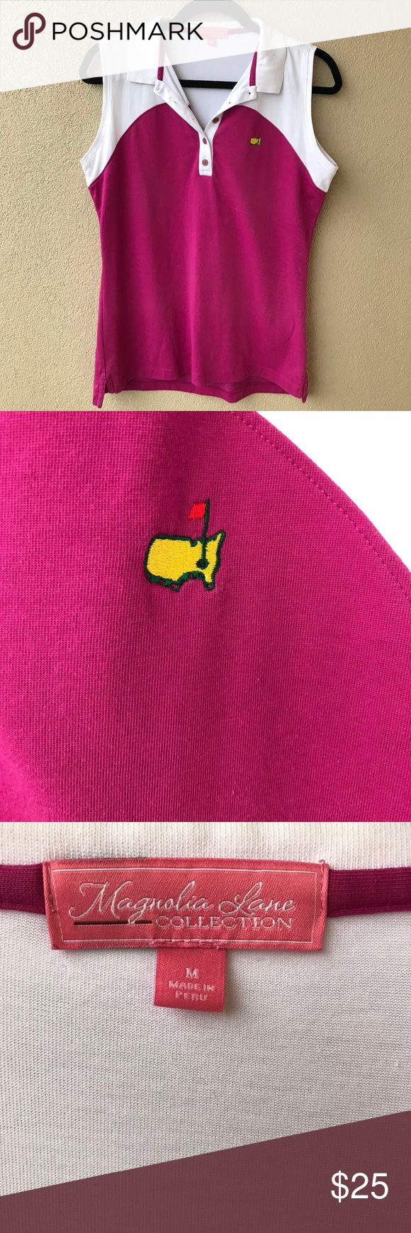 """Augusta National Masters Magnolia Lane Golf Shirt Celebrate the Augusta National PGA Masters tournament with this magenta and white half button gold tank top from Magnolia Lane.  This top has a magenta purple body with a white collar secured by five buttons.  Excellent used condition.  - Size Medium M - Approx. 19.5"""" armpit to armpit - Approx. 26"""" long - 70% pima cotton, 30% polyester  - Closet ID # 0475 Magnolia Lane Tops Tank Tops"""