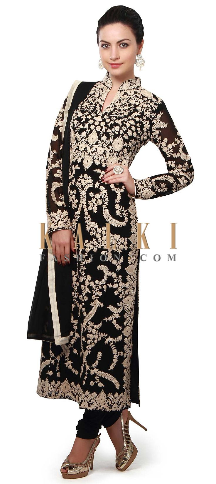 Buy Online from the link below. We ship worldwide (Free Shipping over US$100). Product SKU - 313780. Product Price - $179.00. Product link - http://www.kalkifashion.com/black-straight-suit-enhanced-in-thread-embroidery-all-over-only-on-kalki.html