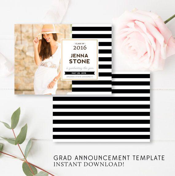 Grad Announcement Template - Senior Graduation Invitation Card, 5x7 Grad Templates, Photoshop Template - INSTANT DOWNLOAD