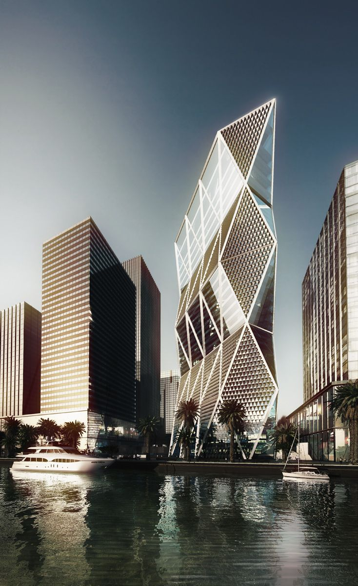 tower by Norman Foster, Sowwah Island, Abu Dhabi
