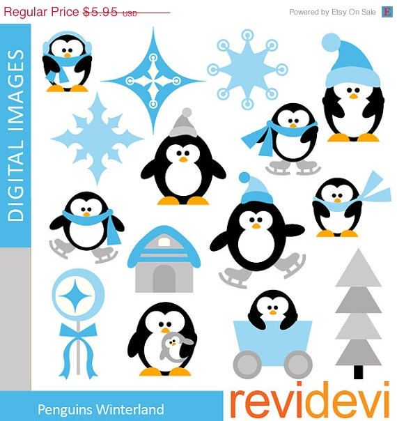 70 OFF SALE Clipart Penguins Winterland 07354  Digital by revidevi