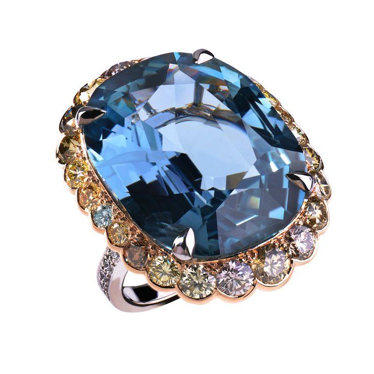 Ring Wit en roze goud, uitzonderlijke 50 cts natuurlijke Birmese saffier en gekleurde diamanten