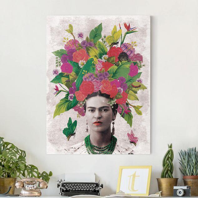 leinwandbild frida kahlo blumenportrait hochformat 4 3 leinwandbilder leinwand billige a0
