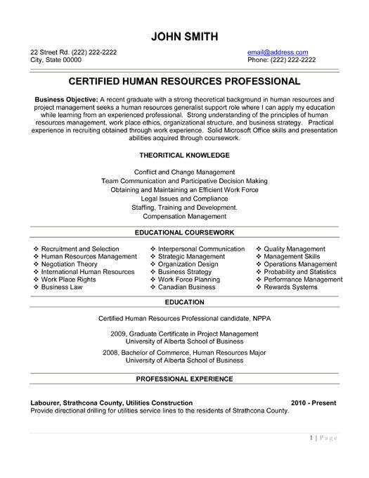 15 best Human Resources (HR) Resume Templates \ Samples images on - examples of hr resumes