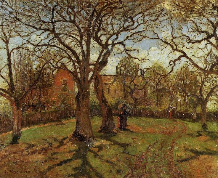 Chestnut Trees, Louveciennes, Spring.1870 by Camille Pissarro