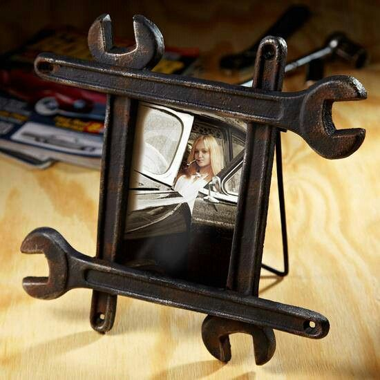 DIY fathers present wrench frame - that's really cool and a great craft idea if you have the appropriate tools & skills.