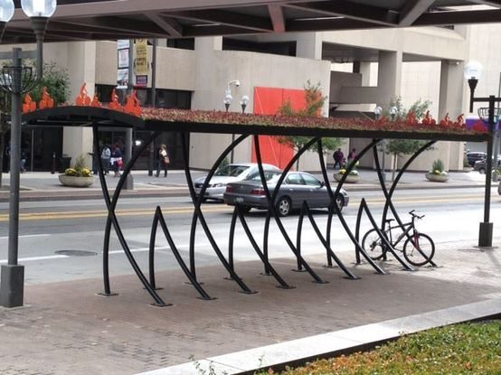Bike rack with green roof in Columbus, OH. Click image for details, and visit the Slow Ottawa 'Streets for Everyone' board for more great design.