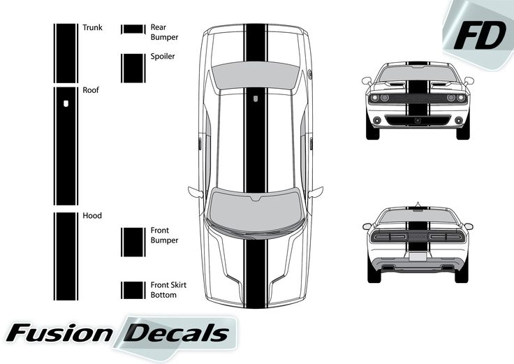 """Dodge Challenger 2015 13"""" Rally Racing Stripe with Pin Stripes Vinyl Decal Kit"""