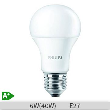 Bec LED Philips forma clasica, 6W, E27, 4000k, lumina neutra, 230V, A60, FR ND… www.etbm.ro/becuri-led