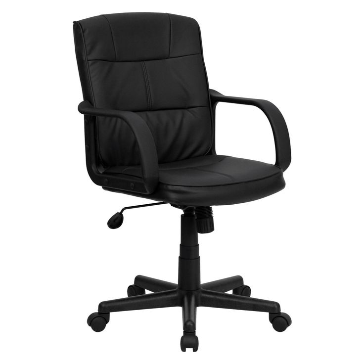 Flash Furniture Mid-Back Office Chair with Nylon Arms - Black - GO-228S-BK-LEA-GG