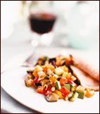 Sweet-and-Sour Vegetable Caponatina Recipe on Food & Wine Sergio Sigala uses an intense sweet-and-sour reduction of white wine vinegar and sugar to flavor his version of the classic Sicilian vegetable medley, caponata. He cuts the vegetables into small pieces, which explains the diminutive name.