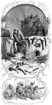"""Gilles de Rais - """"Gilles de Laval, Lord of Rais, performs sorcery on his victims"""", an 1862 illustration by Jean Antoine Valentin Foulquier - Wikipedia, the free encyclopedia"""