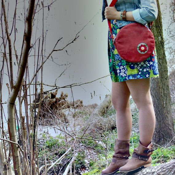 Across body bag, round purse, leather bag, leather purse, cross body purse, embroidery folk bag, square satchel purse bag - red leather on Etsy, £49.63