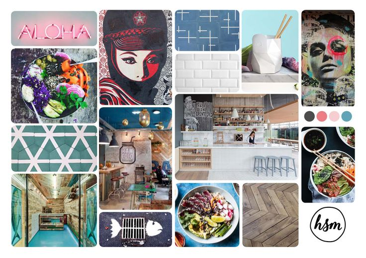 Moodboard for a Poke Bowl / Sushi Bowl concept #horecadesign #urban #hospitalitydesign #hospitality #horeca #horecainterieur #interiordesign #urbanrestaurant #bar #cafe #restaurant #HorecaSfeermakers #PokeBowl #SushiBowl