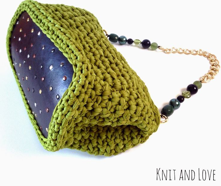 bolso bucket de crochet con base de piel y asa scarlet knit and love