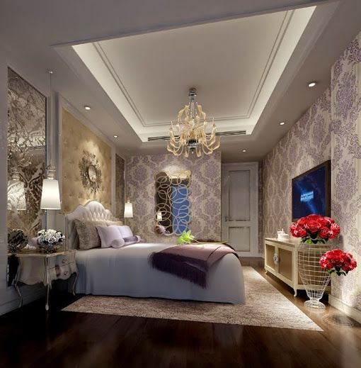 bright luxury bedroom interior design Ideas with beautiful wall design and  chandler http www urbanhomez com. Luxurious Bedroom Interior Design Ideas