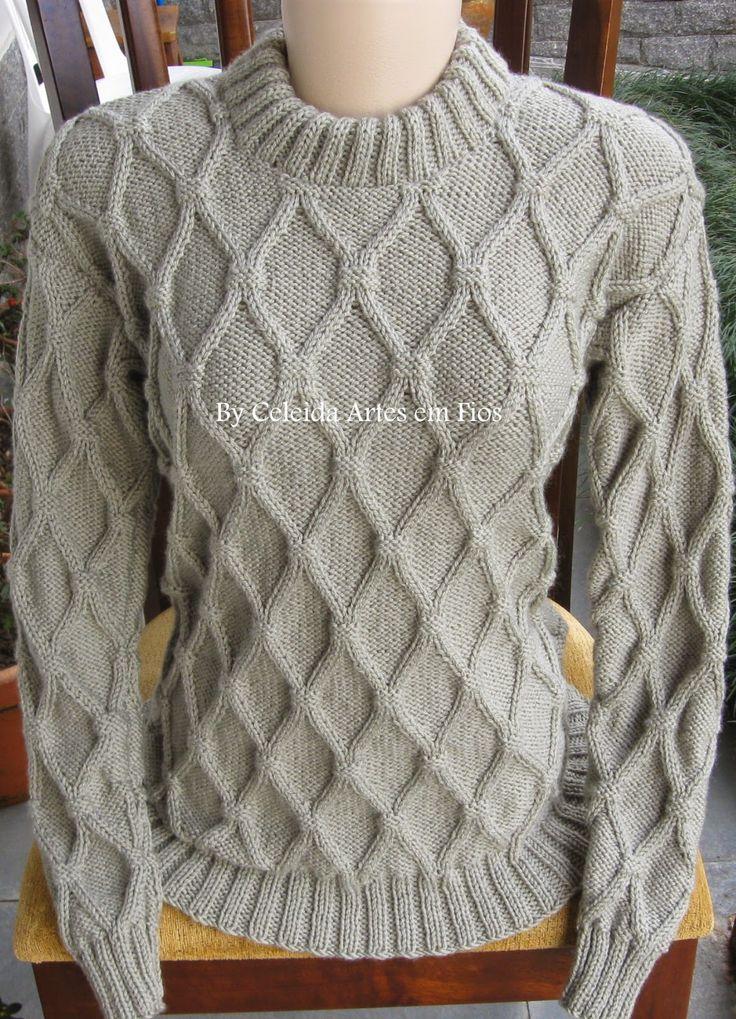 Celeida Artes em Fios: Blusa de tricô com trama em relevo!