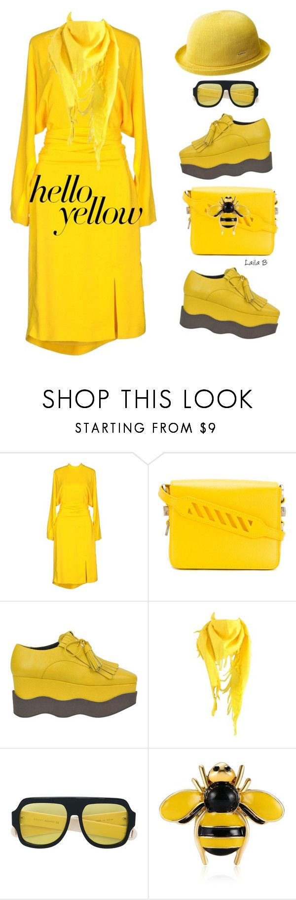 """""""Get Happy with Yellow!"""" by laila-bergan ❤ liked on Polyvore featuring Salvatore Ferragamo, Off-White, Paloma Barceló, Balenciaga, Gucci and kangol"""