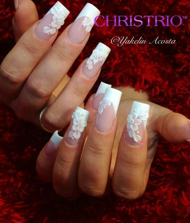 French nails with acrylic flowers