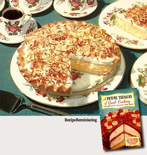 """Coconut Cream Pie / Krempai Med Ristet Kokos - Recipe from """"A Picture Treasury Of Good Cooking"""" A Tested Recipe Institute publication from 1953"""