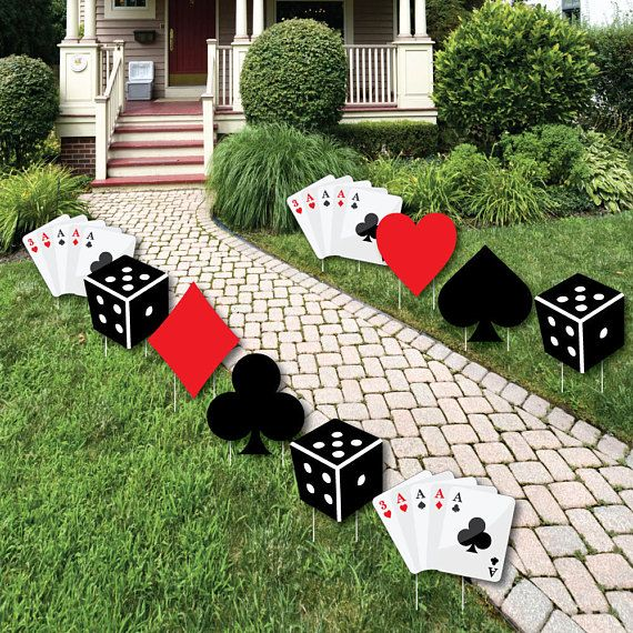 Las Vegas - Casino Party Decorations - Outdoor Yard Party Decorations - Poker Night Party Decor - Prom Party Lawn Ornaments - 10 Pieces