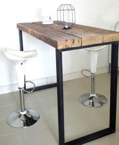 Bartafel Timber 140x89x107 4 balken white wash behandeling en stalen frame in poedercoat kleur naar keuze. debetoverdezolder.nl 575,50