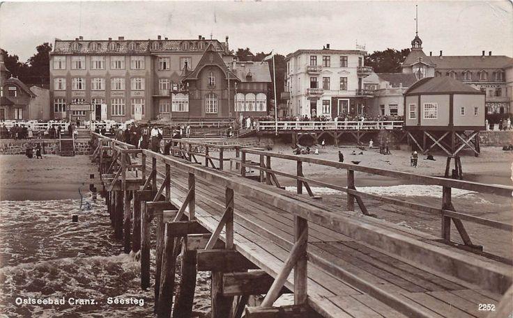Ostseebad Cranz Ostpreussen Seesteg Promenade Hotels Postkarte 1938