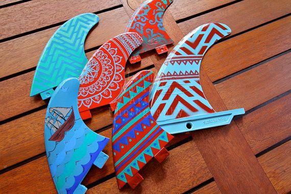 Customised painted surfboard thruster fins by MermaidsCoin on Etsy, $55.00 Hannah Katarski Surf Art