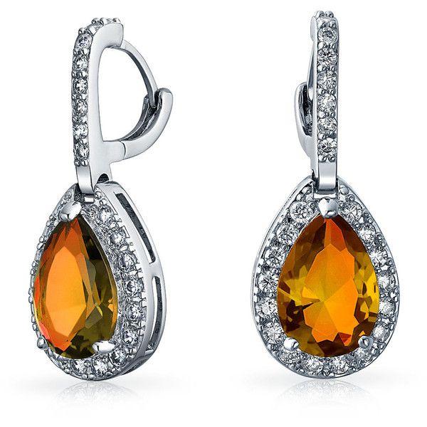 CZ Orange Topaz Color Teardrop Pave Dangle Earrings ($21) ❤ liked on Polyvore featuring jewelry, earrings, bling jewelry deals, orange, cz earrings, teardrop earrings, cubic zirconia chandelier earrings, orange chandelier earrings and dangle earrings