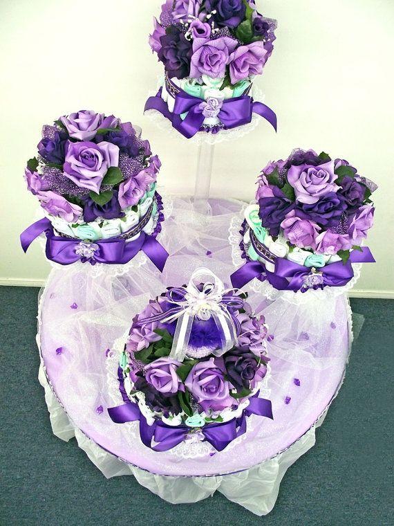 Púrpura Auqa verde y lavanda bebé ducha pañal pastel centro