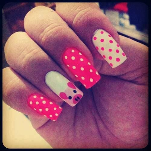 15 Pretty and Cute Pig Nails for Girls - Best 25+ Pig Nail Art Ideas On Pinterest Pig Nails, Animal Nail