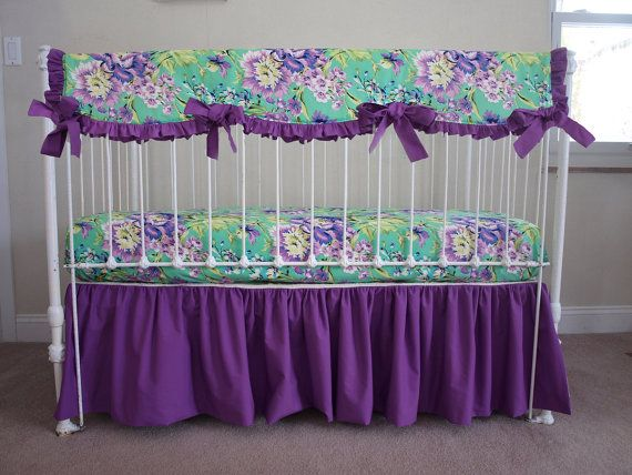 Floral Emerald / Teal Bumperless Purple, Lime and Green Baby Girl Crib Cot Bedding - 3 pc. - made with Love Bliss Bouquet Fabric