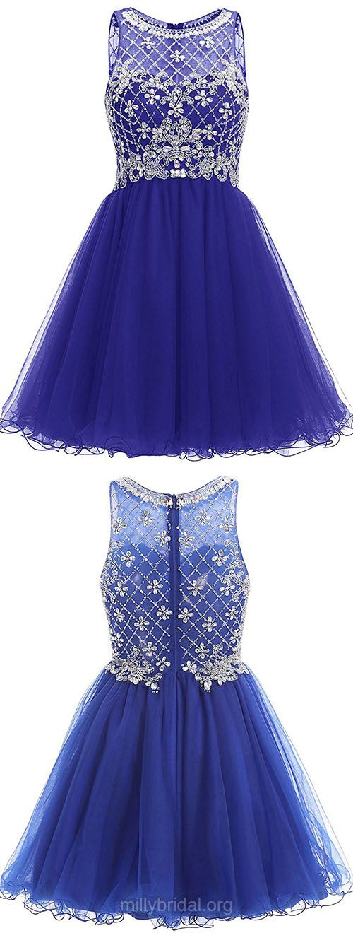 New Arrival Blue Prom Dresses,A-line Scoop Neck Short Homecoming Dresses,Tulle Beading Sexy Cocktail Dress