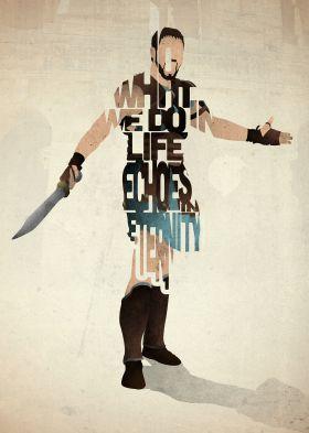 prints on metal Movies & TV gladiator maximus film movie quote quotes vintage retro type typography