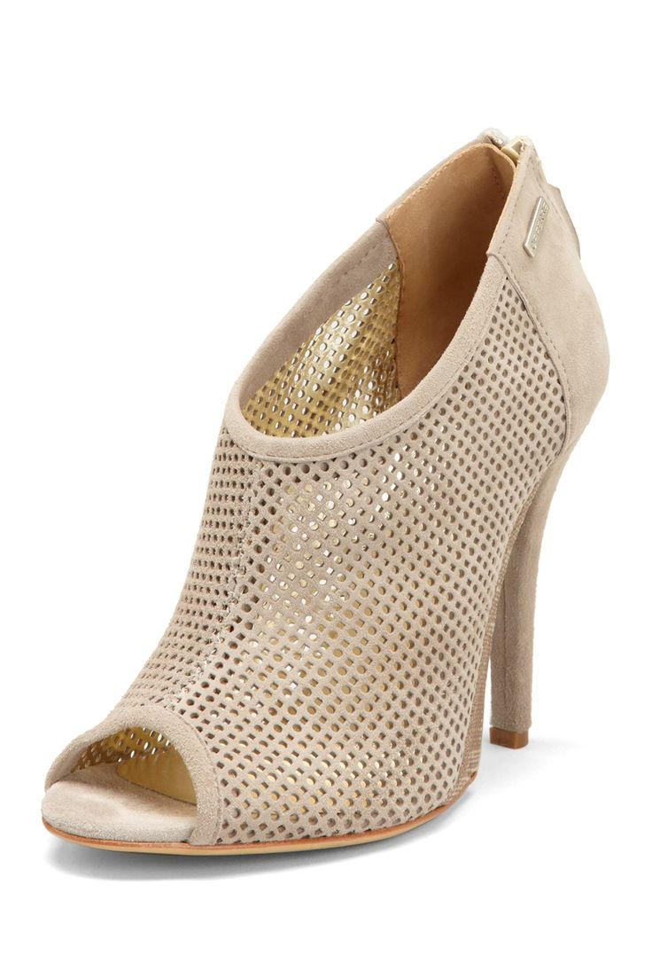 GF FERRE Perforated Peep Toe Bootie