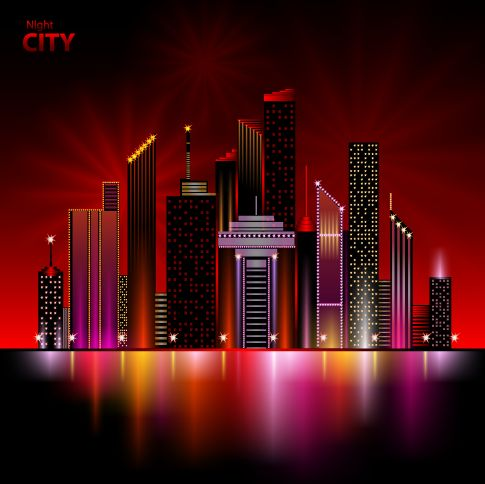 gran ciudad nocturna, imagen vectorial.