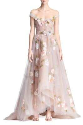 870fdfbe Marchesa A-Line Floral Gown | Products | Floral gown, Dresses, Pink ...