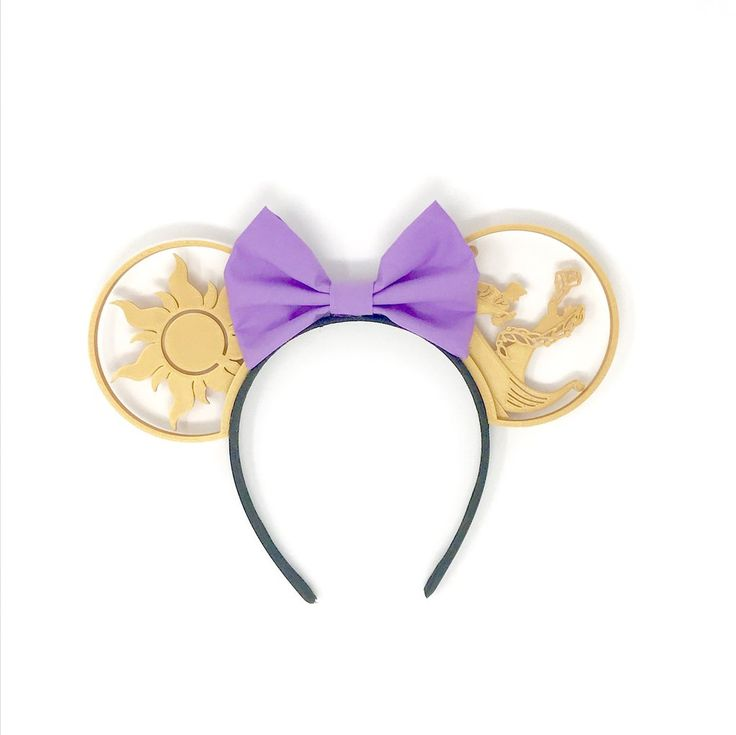 """At Last I See the Light"" Mouse Ears with Custom Bow – Aloha Ears Design"