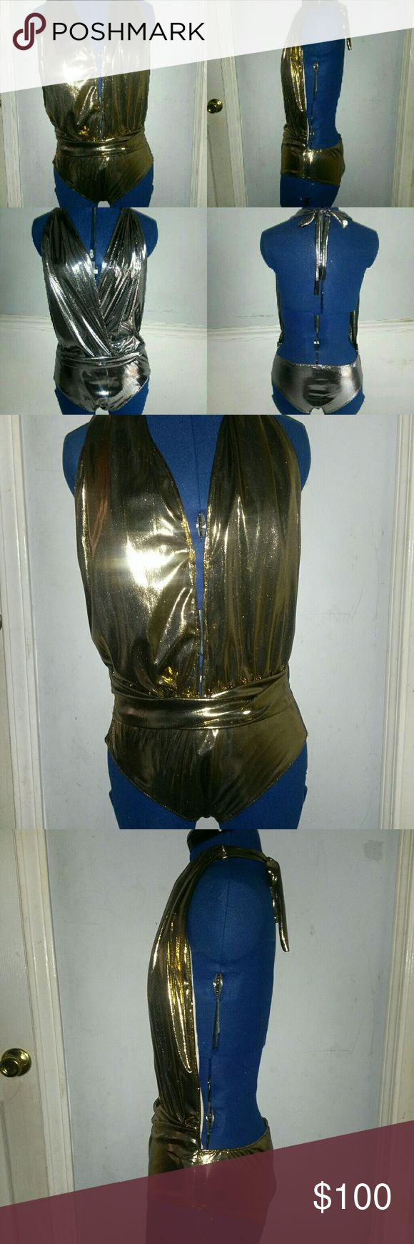 Matellic Gold and Silver Haulter Designed Swimsuit Made in USA with Care by Fashion Designer Regania Richards, S (4-6) Metallic Silver and Gold Swimsuits Swim One Pieces