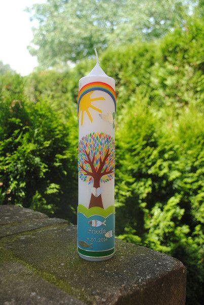 Taufkerzen - Taufkerze Lebensbaum auf Wiese - ein Designerstück von Mein-Nordlicht bei DaWanda
