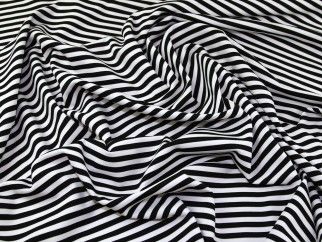 Stripe Print Polyester Stretch Jersey Knit Dress Fabric Black & Ivory | Fabric | Dress Fabrics | Minerva Crafts