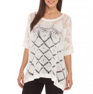 Scoop Neck Crochet Sweater
